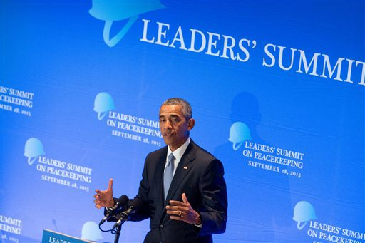 President Barack Obama speaks during a United Nations Peacekeeping Summit, Monday, Sept. 28, 2015, at United Nations headquarters. (AP Photo/Andrew Harnik)