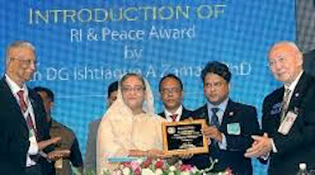 Prime Minister Sheikh Hasina received Rotary Peace Prize from Rotary International at Platinum Jubilee of Rotary international District
