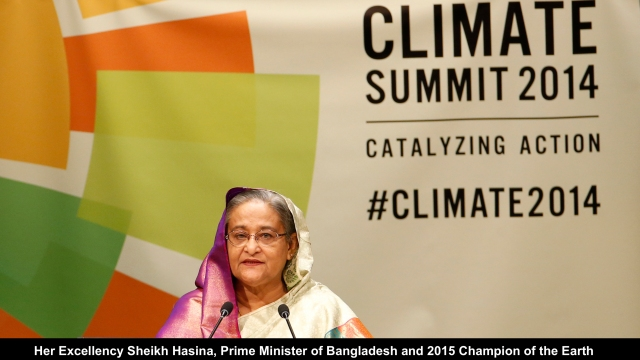 Bangladesh's Prime Minister Sheikh Hasina speaks during the Climate Summit at the U.N. headquarters in New York September 23, 2014. REUTERS/Mike Segar (UNITED STATES - Tags: POLITICS ENVIRONMENT) - RTR47EEU