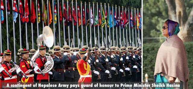A contingent of Nepalese Army pays guard of honour to Prime Minister Sheikh Hasina