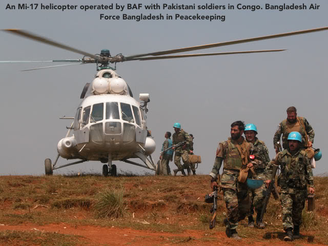An Mi-17 helicopter operated by BAF with Pakistani soldiers in Congo. Bangladesh Air Force Bangladesh in Peacekeeping