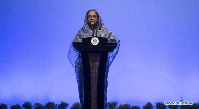 Bangladeshi Prime Minister Sheikh Hasina speaks during the Asian-African Summit in Jakarta, capital of Indonesia