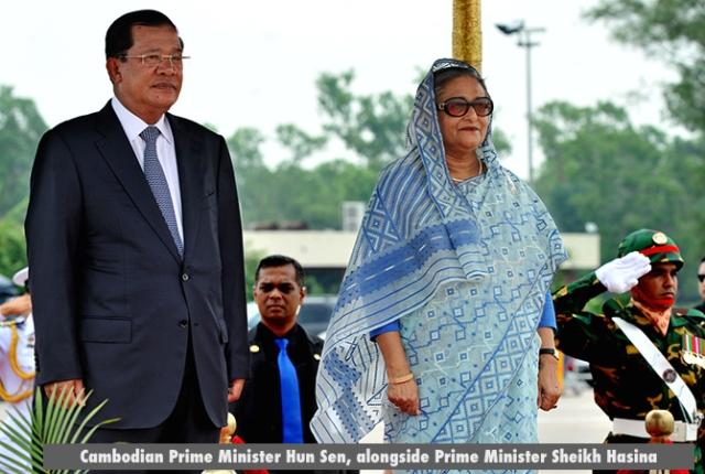 Cambodian Prime Minister Hun Sen, alongside Prime Minister Sheikh Hasina