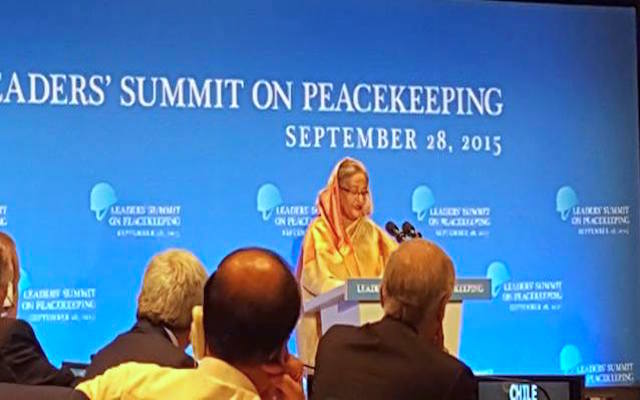 PRIME MINISTER SHEIKH HASINA ALSO THE CO-CHAIR DELIVERING HER SPEECH AT PEACEKEEPING SUMMIT AT UN