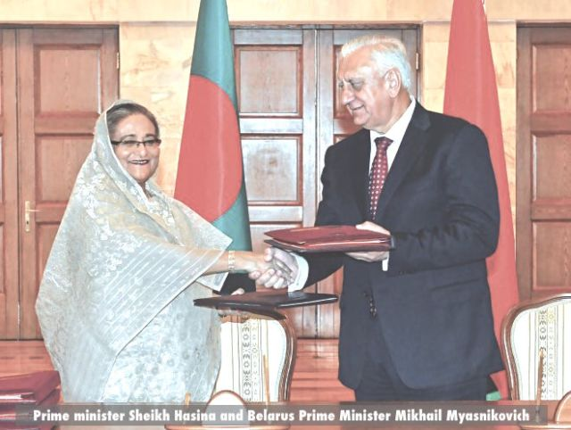 Prime minister Sheikh Hasina and Belarus Prime Minister Mikhail Myasnikovich