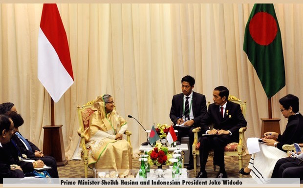 Prime Minister Sheikh Hasina and Indonesian President Joko Widodo