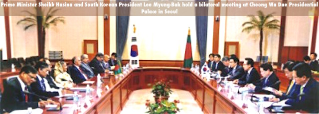 Prime Minister Sheikh Hasina and South Korean President Lee Myung-Bak hold a bilateral meeting at Cheong Wa Dae Presidential Palace in Seoul