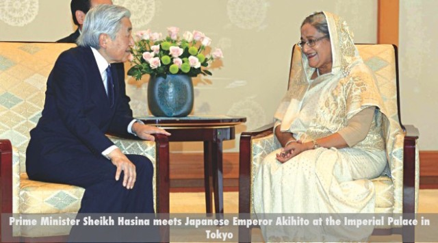 Prime Minister Sheikh Hasina meets Japanese Emperor Akihito at the Imperial Palace in Tokyo