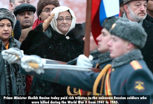 Prime Minister Sheikh Hasina today paid rich tributes to the unknown Russian soldiers who were killed during the World War II from 1941 to 1945.