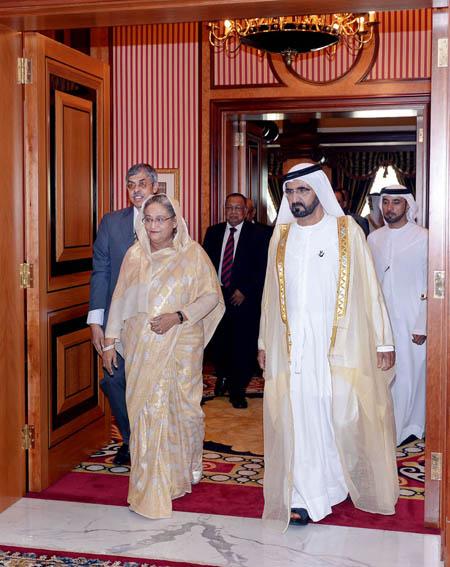 Prime Minister Sheikh Hasina with her UAE counterpart Sheikh Mohammed bin Rashid Al Maktoum