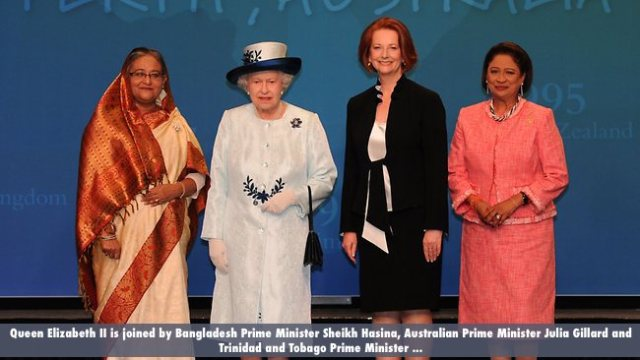 Queen Elizabeth II is joined by Bangladesh Prime Minister Sheikh Hasina, Australian Prime Minister Julia Gillard and Trinidad and Tobago Prime Minister ...