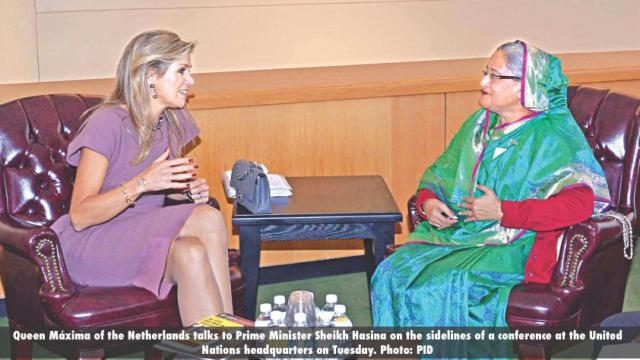 Queen Máxima of the Netherlands talks to Prime Minister Sheikh Hasina on the sidelines of a conference at the United Nations headquarters on Tuesday. Photo- PID