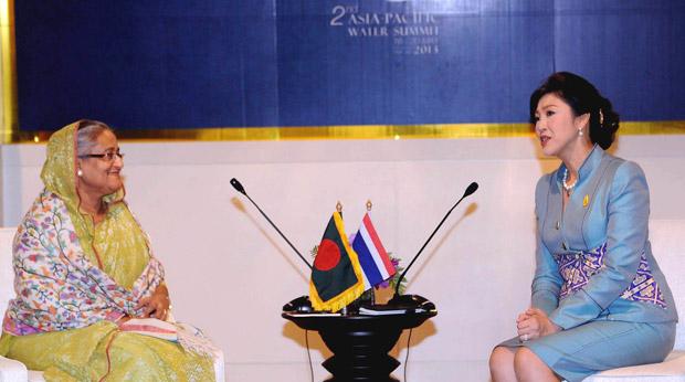 SHEIKH HASINA WITH Yingluck Shinawatra, Prime Minister, Thailand