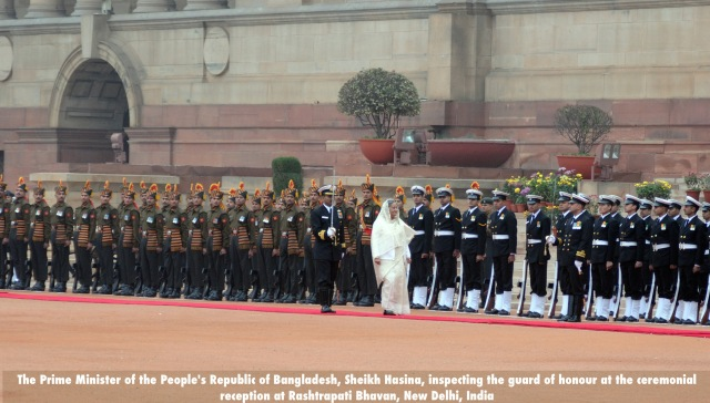 The Prime Minister of the People's Republic of Bangladesh, Mrs. Sheikh Hasina, inspecting the guard of honour at the ceremonial reception at Rashtrapati Bhavan, in New Delhi on January 11, 2010.