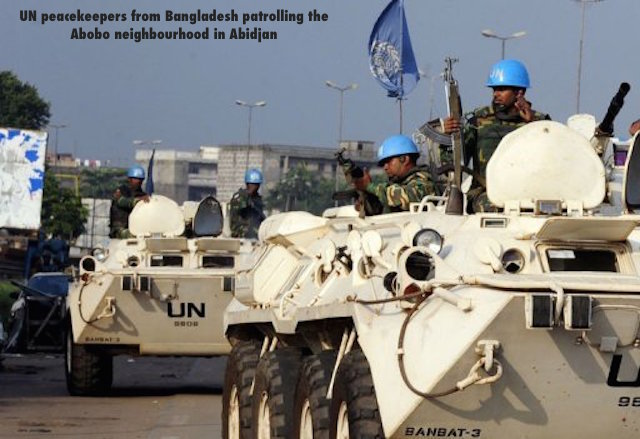 UN peacekeepers from Bangladesh patrolling the Abobo neighbourhood in Abidjan