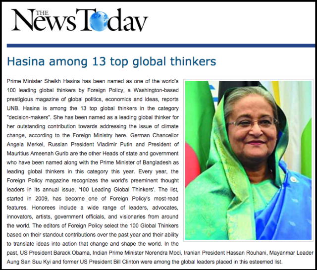 Hasina among 13 top global thinkers