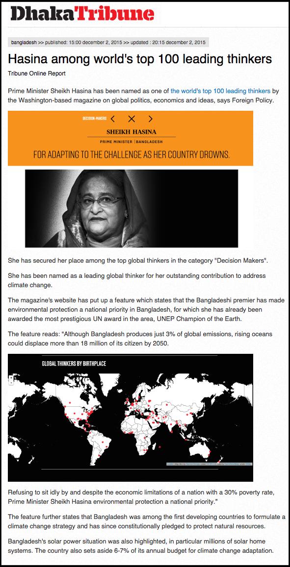 Hasina among world s top 100 leading thinkers   Dhaka Tribune