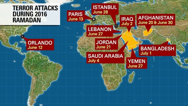 A series of attacks have occured around the world during Ramadan 2016, the Muslims' holy month of fasting.
